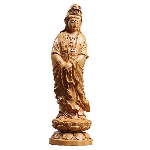 観音像 風水 仏像 ツゲの木彫り 木製彫刻 (高さ18cm×巾5.5cm×奥行5.5cm)