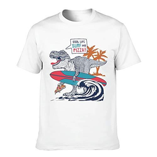 YOUYO Spark - T-shirt da uomo in cotone con motivo 'Cool Life Su-rf e Pi-zza Dino-Saur', colorato, resistente, per fitness bianco XL
