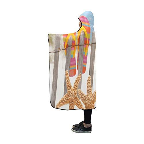 JOCHUAN Mit Kapuze Decke Flip Flops hängen am Zaun von Decke 60 x 50 Zoll Comfotable Hooded Throw Wrap