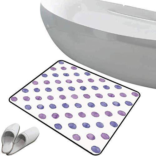 Alfombra de baño antideslizante de felpudo Púrpura Alfombrilla goma antideslizante Estilo de pintura de acuarela Patrón de lunares nostálgicos Decoraciones de vivero Clásico,azul lila,Interior/Exterio