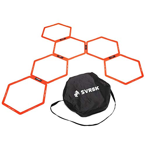 SVRBK Hexagonal Agility Rings - A Large Web of Hoops - Improves Speed and Footwork in Football, Soccer, Rugby, Boxing and Combat Sports - Including HIIT Timer App, Carry Bag and Training Guide.