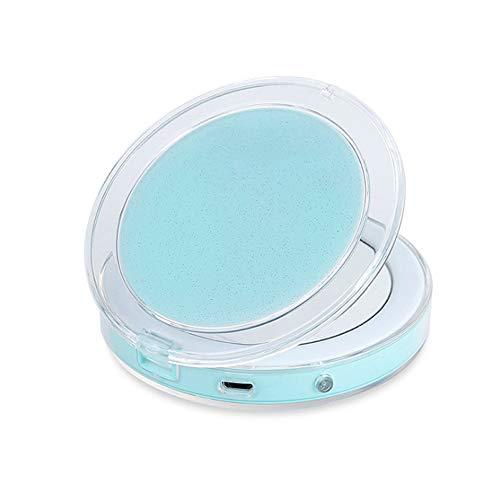 Ywoworld compacte make-upspiegel, 1x / 3X vergroting make-up spiegel met lampjes, USB-oplading voor reizen en tas (groen)