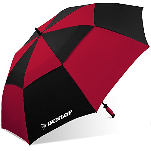 Dunlop - Paraguas de golf con doble toldo, Dunlop 7800-dl - Paraguas de golf con dosel doble, color negro, Negro/Rojo, 60 IN