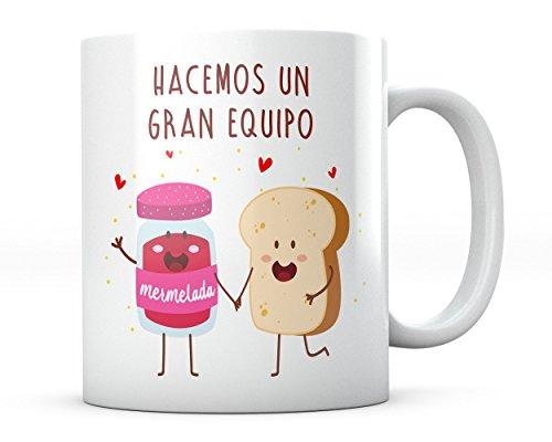 PANISCUS Taza para Regalar Mermelada y Tostada Hacemos un Gran Equipo Regalo para Amigo o San Valentin