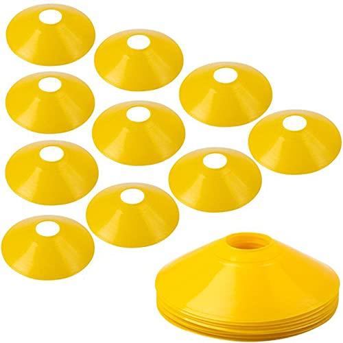 BiAnYC マーカーコーン トレーニングコーン コンパクト マーカーディスク サッカー/フットサル用 カラーコーン イエロー 10枚セット収納袋付き 厚いバージョン