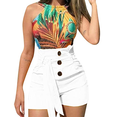 BBesty Save 15% Women's Fashion Sexy Lace Up High Waist Slim Fit Casual Style Belted Beach Shorts Summer Shorts Pants White