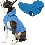 Gooby Dog Hoodie Fleece Vest - Blue, Large - Pull Over Dog Jacket with Leash Ring - Winter Small Dog Sweater - Warm Dog Clothes for Small Dogs Girl or Boy Dog Vest for Indoor and Outdoor Use