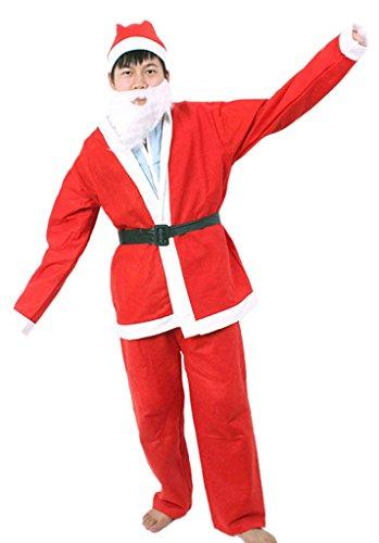 EOZY Set De 5 Costume De Père Noël Avec Barbe Déguisement Père Noël Homme Grande Taille Rouge