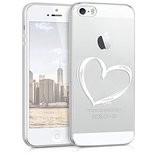 kwmobile Custodia Compatibile con Apple iPhone SE (1.Gen 2016) / 5 / 5S - Cover Silicone TPU - Protezione Back Case - Cuore Bianco/Trasparente