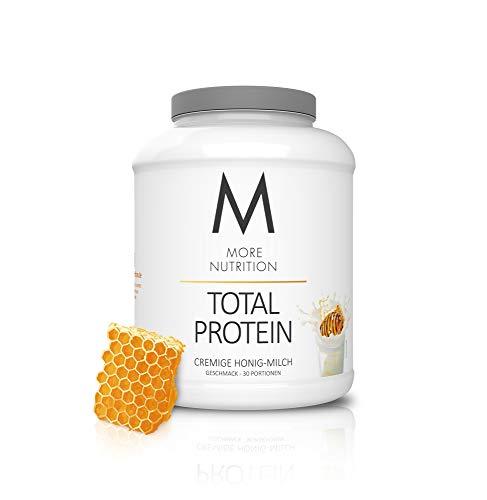 MORE NUTRITION Total Protein (1 x 1500 g) - Whey Eiweißpulver mit Casein, Aminosäuren und Laktase für Muskelaufbau (Honig Milch)