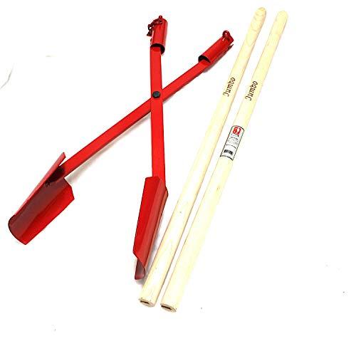 Erdlochausheber Handbagger Lochspaten 140 x 110 bis 280 mm von Idealspaten, Typ Jumbo 1, 10 Jahre Garantie. Länge 1,70 m lang. Senkrechte Löcher graben, ausheben für Zaunpfähle, Fundamente, Pfosten.