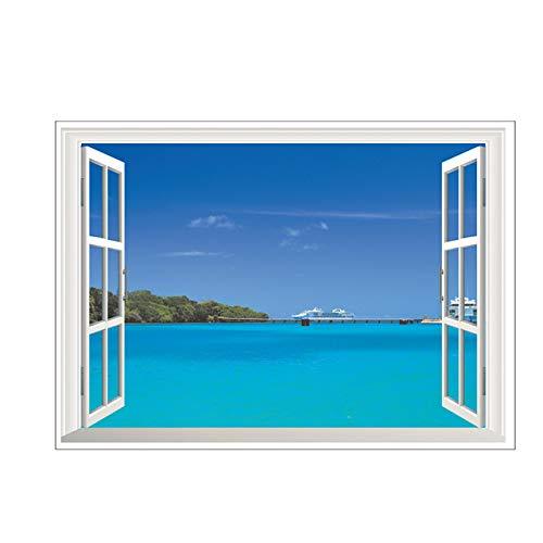 Naturaleza del paisaje 3D Vista de la ventana Pegatinas de pared para la sala de estar dormitorio decoración decorativa hogar PVC decoración Mural arte de la pared calcomanías c1 70x50 cm