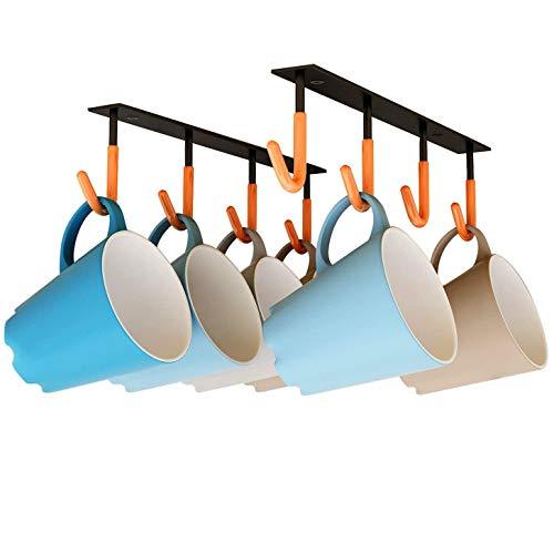 XIGOO Coffee Mug Holder Under Cabinet - Multi-Function Kitchen Cabinet 2pcs × 4 Hooks, Heavy Duty Hangers for Hanging Mug Cup,Teapots, Utensils