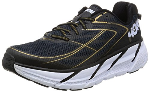HOKA ONE ONE Men's Clifton 3 Shoe (8.5 D(M) US, Midnight Navy/Metallic Gold)