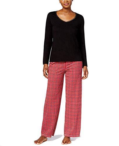 Charter Club Graphic Top & Printed Pants Pajama Set (Small Grid Plaid, S)