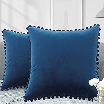 Set of 2 Velvet Decorative Throw Pillow Covers Hidden Zipper Sofa Cushion Case with Pom Poms Soft Particles for Couch Bedroom Car 12x20 Inch Navy Blue