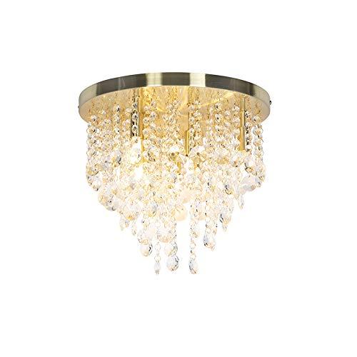 QAZQA Art Deco/Klassisch/Antik Klassische Deckenleuchte/Deckenlampe/Lampe/Leuchte Gold/Messing/Messing 35 cm - Medusa/Innenbeleuchtung/Wohnzimmerlampe/Schlafzimmer/Küche Glas/Sta