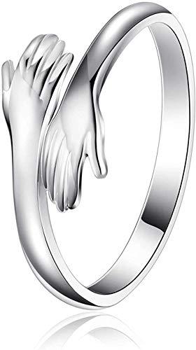 Anillo ajustable para manos abrazadas, de plata de ley, par ajustable, anillo para abrazar, par de anillos para manos abrazar, apertura ajustable, anillo para los dedos abiertos (1 unidad)