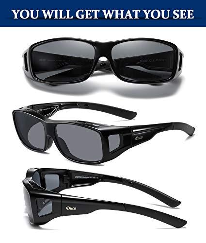 Duco Unisex Wraparound Fitover Glasses Polarized Wear Over Sunglasses 8954 (L Size Black /Grey)