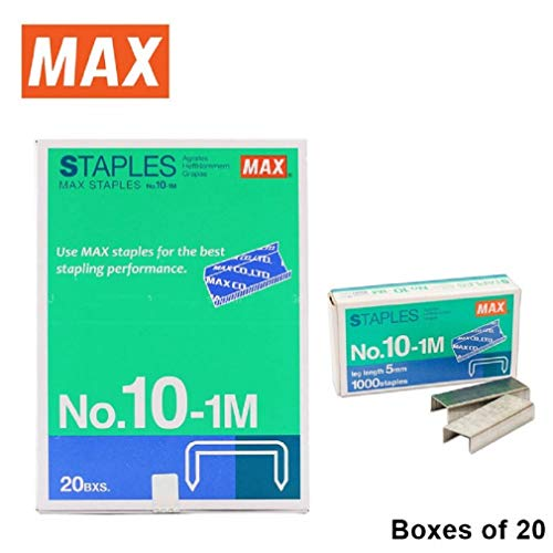 20 Boxes (20,000-Staples) Authentic Max Staples No.10-1M for Office Stapler Photo #4