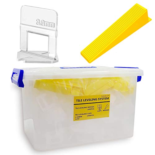 Craftsboys Tile Leveling System 1/16, 300PCS Clips 100PCS Reusable Wedges in Portable Storage Box (1.5mm Clips+Wedges)