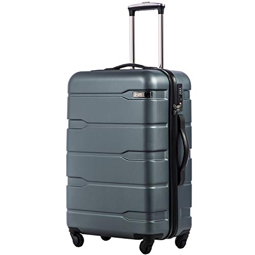 Coolife Luggage Expandable(only 28') Suitcase PC+ABS Spinner Built-In TSA lock 20in 24in 28in Carry on (Teal, M(24in).)