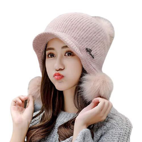 Magic Winter Soft Warm Snow Proof Visor Pom Pom Cap (Inside Fur) Woolen Beanie Cap for Women's & Girl's (Purple)