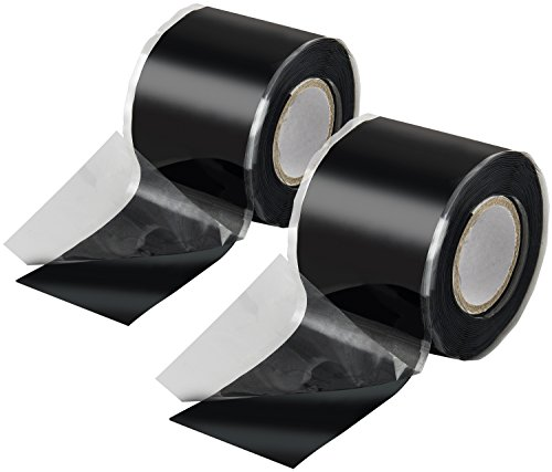 Poppstar 2x 3m selbstverschweißendes Silikonband, Silikon Tape Reparaturband, Isolierband und Dichtungsband (Wasser, Luft), 38mm breit, schwarz