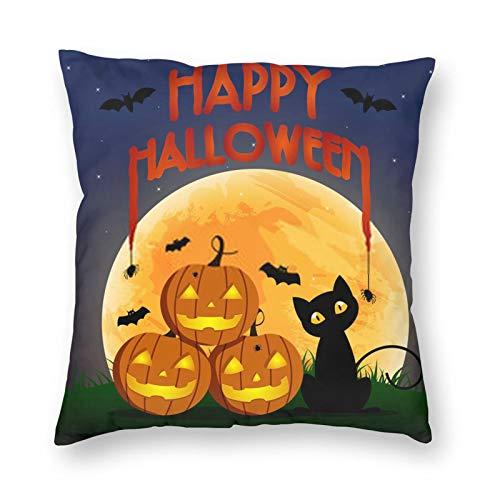 Nixboser Fundas de almohada de poliéster con diseño de gato negro y murciélagos y arañas para Halloween, para sofá, sala de estar, cama, coche, 40,6 x 40,6 cm