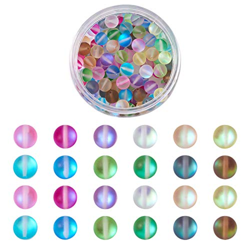 Cheriswelry 120 cuentas de cristal mate de piedra lunar sintética de 8 mm y media AB chapado en color esmerilado redondo bolas sueltas para joyería pulsera agujero: 1 mm
