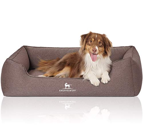 Knuffelwuff Orthopädisches Hundebett XXL Leano Hundekorb Hundesofa Hundekissen Hundekörbchen waschbar Braun 120 x 85cm grosse Hunde