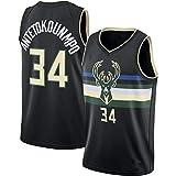 YGYG Baloncesto Jersey Milwaukee Bucks Giannis Antetokounmpo # 34, Baloncesto Jerseys Mesh Breathable Basketball T-Shirt Set-Black-XXL(190~195)