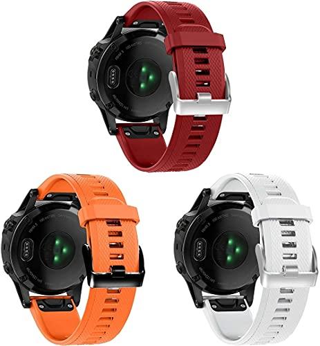Gransho compatível com Garmin Fenix 5X Plus/5X Sapphire/Fenix 3 / Fenix 6X/6X Zafiro Pulseira de Relógio, Pulseira de Reposição de Silicone Macio (3-Pack I)