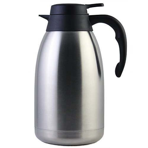 Cresimo 68 Oz Stainless Steel Thermal Coffee Carafe/Double Walled Vacuum Flask / 12 Hour Heat Retention / 2 Liter Tea, Water, and Coffee Dispenser