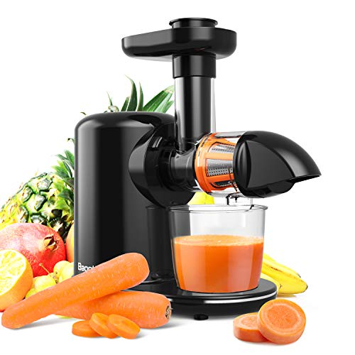 Juicer Machines, Bagotte Slow Masticating Juicer Extractor, Higher Juice Yield and Drier Pulp, Easy to Use and Clean, 150-Watt, Quiet Motor & Reverse Function, For Vegetables and Fruits, BPA-Free