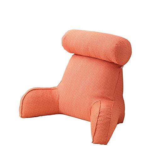 Almohada de lectura suave con reposabrazos Almohada enrollable para el cuello desmontable, Almohada de reposo en cama de primera calidad Cojín de respaldo con bolsillo lateral para leer, relajarse