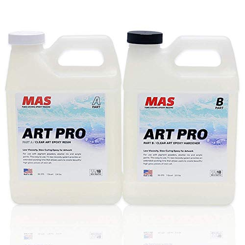 MAS Art Pro Epoxy Resin & Hardener | Two Part Art Resin Features UV Inhibition, Longer Working Time, Special Formulation for Resin Art | Professional Grade Crystal Clear Epoxy Resin (2 Quart)