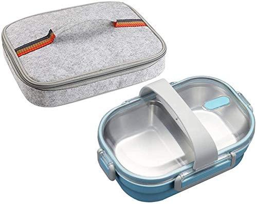 Pkfinrd Lunch Box304 roestvrij staal Bento doos met compartimenten kinderen school witte kraag voedsel container lekvrij voedsel doos B blauwe tas Cup Set