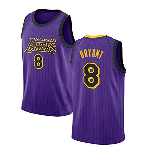 Sin mangas unisex 24 de Kobe Bryant Lakers Jersey, baloncesto masculino, bordado de malla de baloncesto swingman Jersey Gran,Round neck purple 8,XXL