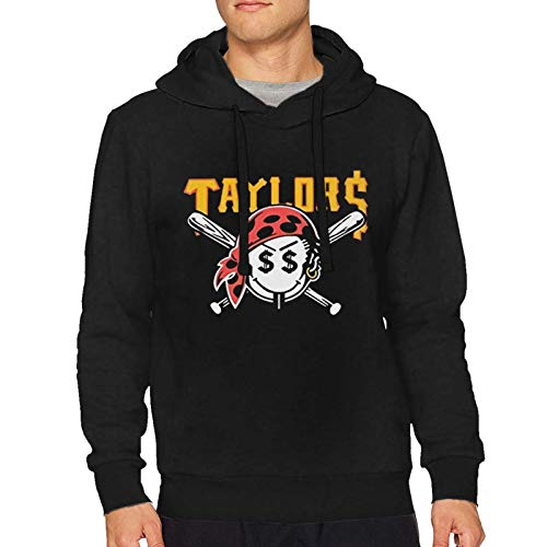 AngelaHenderson Men's Gang Taylors Smiley Pirate Face Funny Long Sleeve Sweatshirt Hoodie Pullover Black Small