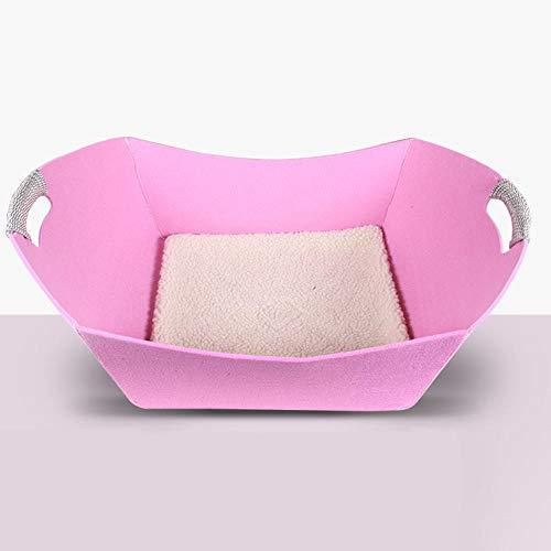 Ygccw Memory Foam Pluche Hond Bedden Hondenmand Bed Dekens Lounger Huisdier benodigdheden Vier seizoenen universele eenvoudige warm vilt nest kat nest roze, 46.5 * 30 * 5 * 18.5cm