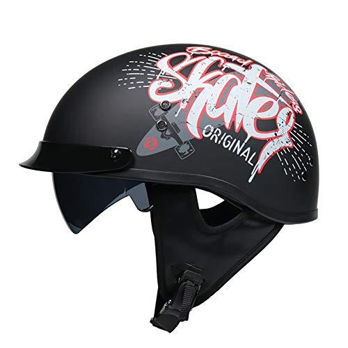 Casco Moto Abierto, Medio Casco De Motocicleta Retro,ECE Homologado Retro Half Moto Cascos Helmet De La Bici del Casco del Viaje del Estilo para Motocicleta Vintage Jet Casco Moto D,XL(61~62cm)