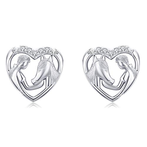 MEDWISE Hypoallergenic Silver Lucky Horse Stud Earrings for Girls Women 925 Sterling Silver Horse Gifts for Horse Lovers Jewelry
