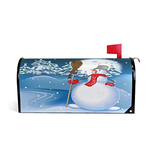 Noël Bonhomme de neige avec balai Bienvenue magnétique Boîte aux lettres Boîte aux lettres Coque stratifiées, Winter Snow Arbre Lune Taille standard Makover Mailwrap Garden Home Decor 64.7x52.8cm multicolore