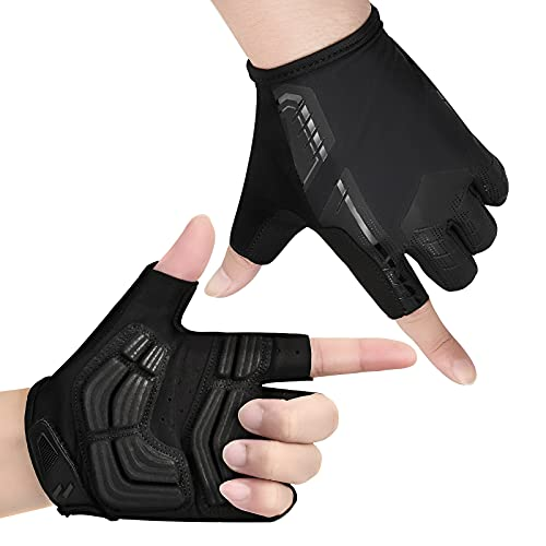 Yobenki Cycling Gloves Half Finger Bike Gloves Breathable Bicycle Gloves Thickened Anti-slip Shock-absorbing Professional Mountain Road Bike Gloves For Men Women MTB Riding Bicycle Fitness(Black,L)