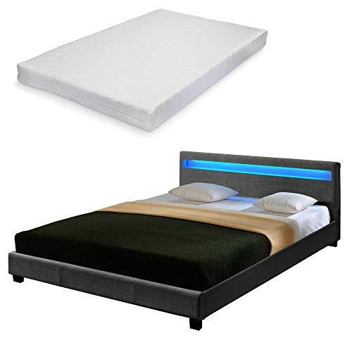 Corium Doppelbett mit Kaltschaum-Matratze und LED-Beleuchtung Polsterbett 140x200cm Bettgestell mit Lattenrost Stoff Bett ÖKO-Tex Standard 100 Matratze