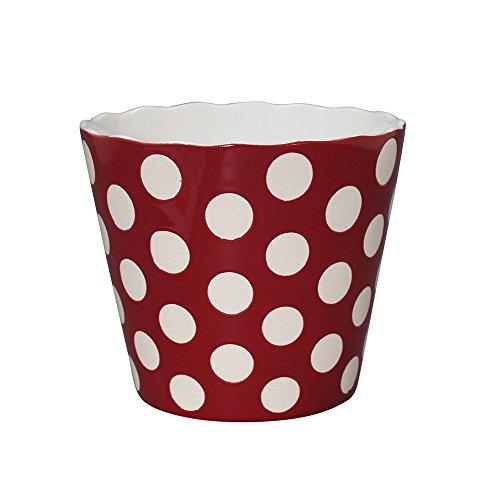 Krasilnikoff Schale Large Happy Bowl Rot mit weißen Punkten H14cm