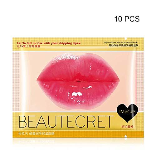 GsMeety Collagen Lippenmaskenmit Feuchtigkeitsspendende Glatte Feine Linien Erhellen Lippenfarbe Anti Drying Lippen Pflegemaske, 10 Stück,Honey moisturizing Lip mask