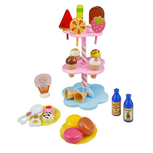 ✿【Material】-- El nuevo soporte de dos capas de estilo es azul,y la calidad de la comida juguete es mejor que la anterior.Hecho de plástico de uso seguro, no tóxico y respetuoso con el medio ambiente, juguete ideal para jugar al rol de repostería. Gra...