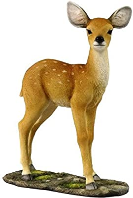7.5 Inch Cute Standing Deer Fawn Decorative Figurine Tan and White